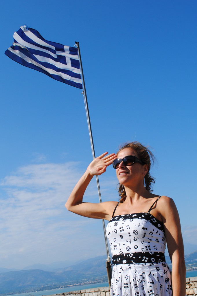 Modern Greece's Proud Flag at Nafplion: f/9; Exposure 1/320sec; ISO-100