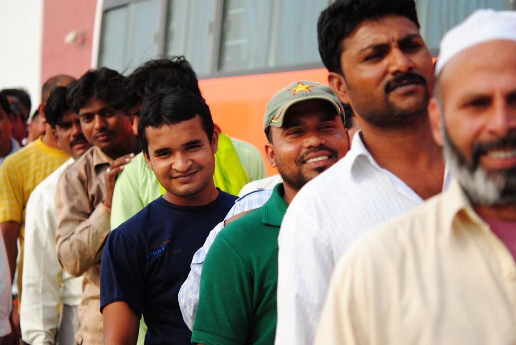 Dubai Labourers waiting for their Iftar Packs: f/2.8; 1/3200sec; ISO-400