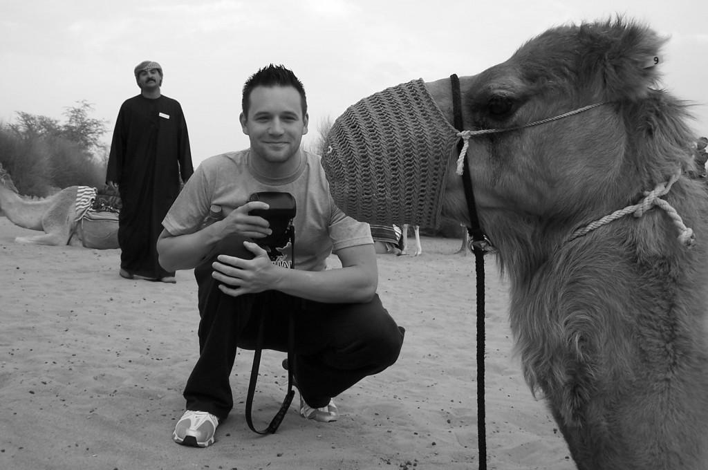 Camel Trek into the Dubai Desert Reserve Mr H & our guide: f/2.8; 1/125sec