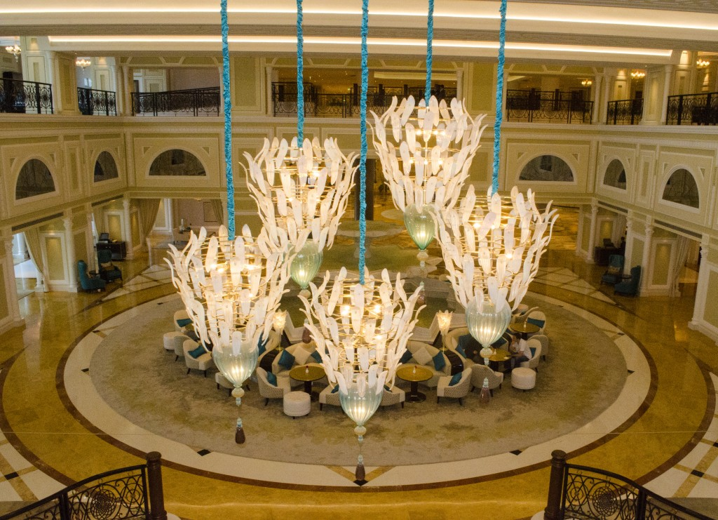Peacock Alley and overhead chandeliers as seen from the sweeping staircase of the Waldorf-Astoria