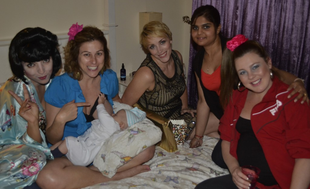 How the Hartleys party: with baby in tow, and breastfeeding where we can: at Adam & Rio's housewarming, Dubai.