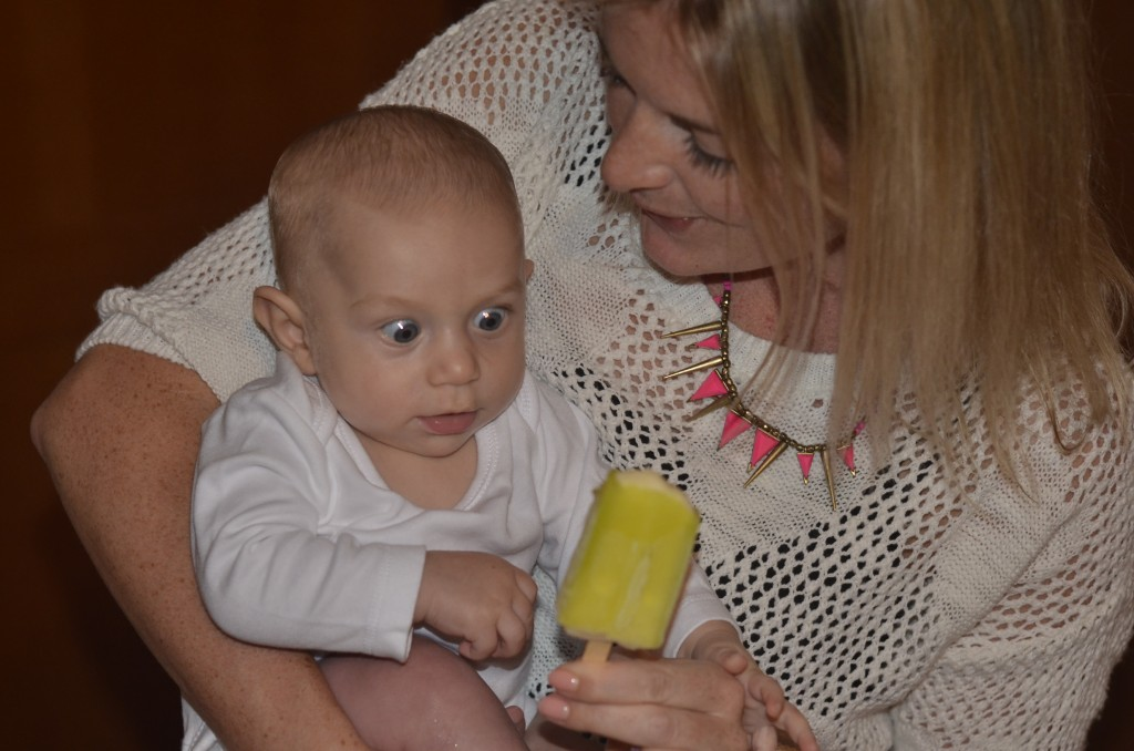 Kingsley eyeing a Bulla Split, in the hands of Vicki Matheson, over the night King turned 4 months of age