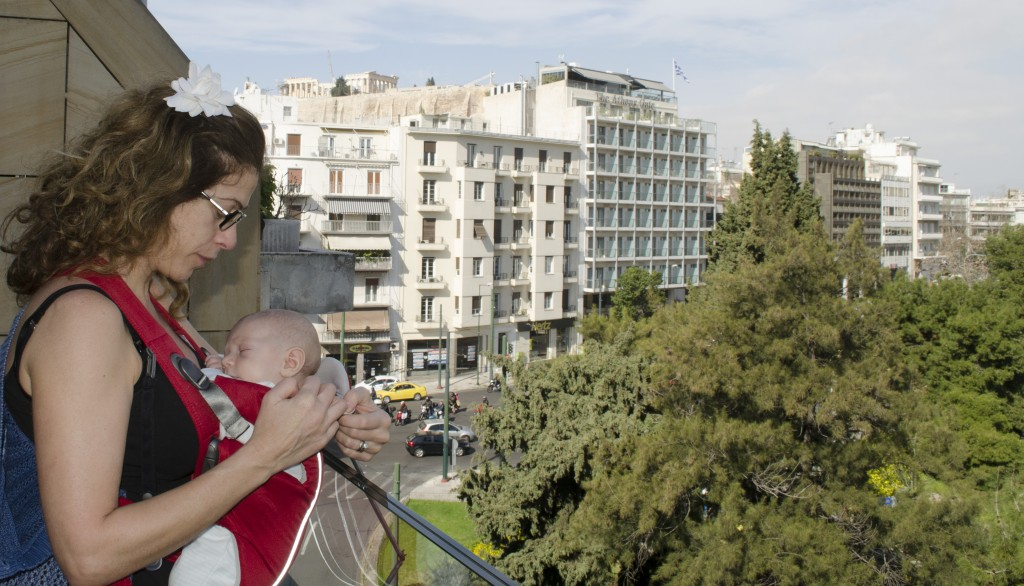 Kingsley touring Athens with me. King at 2 month of age, February 2014