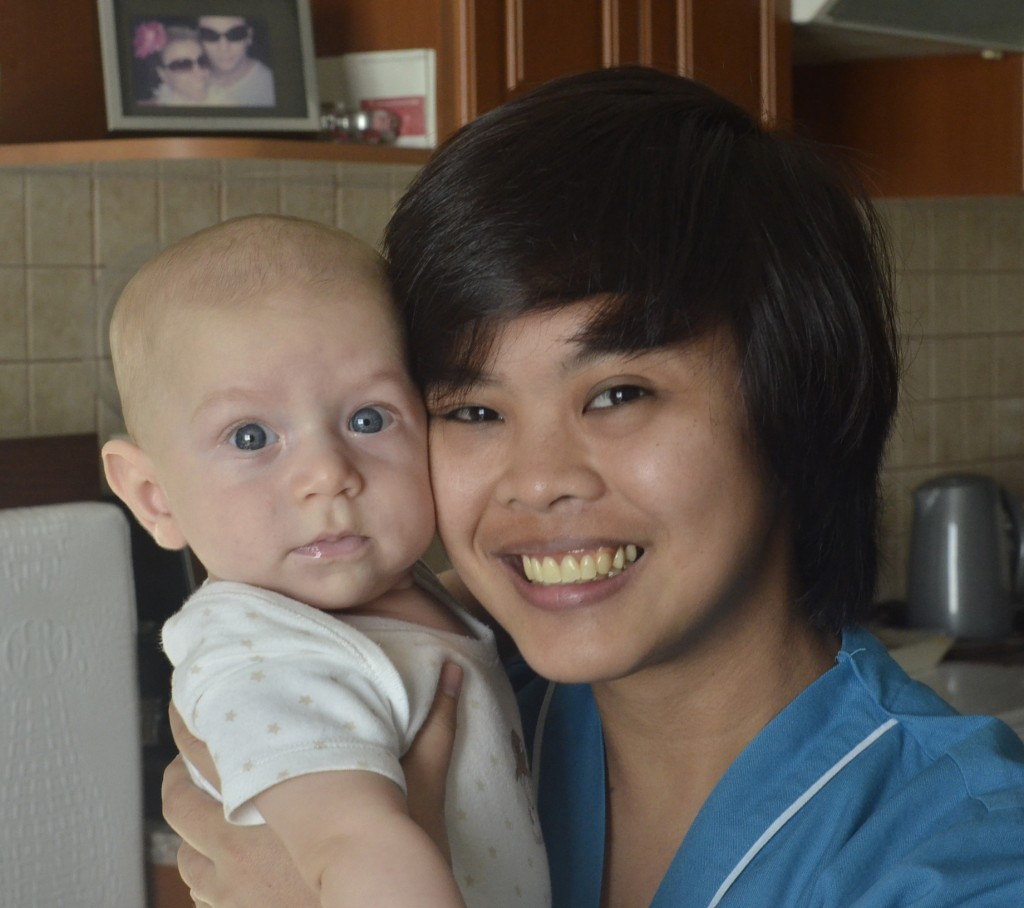 Nurse Jinky - Kingsley's very first nurse, with the boy aged 4 months