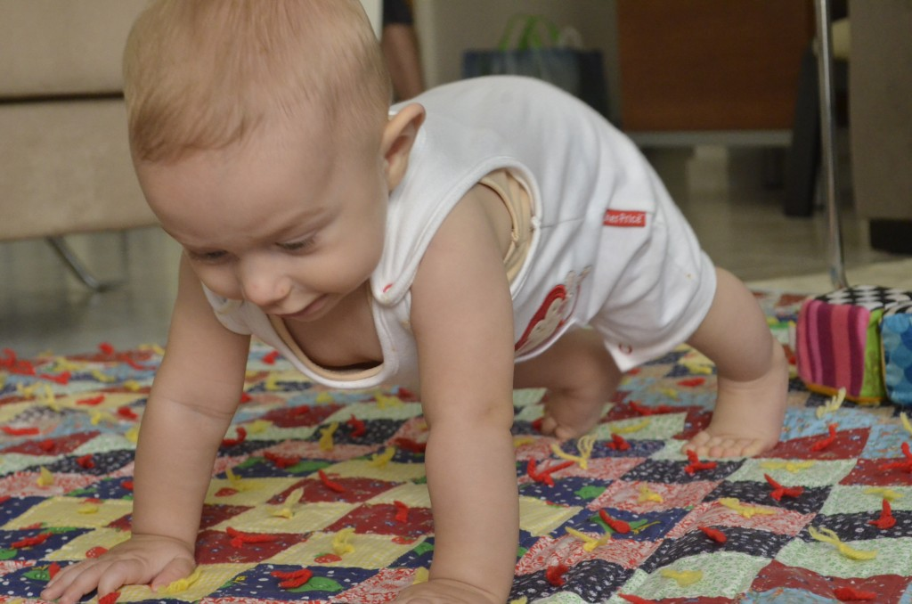 Perfecting the push-up. Kings at 6.5 months of age on the quilt that Granma Bonnie made Erroll 35 years ago
