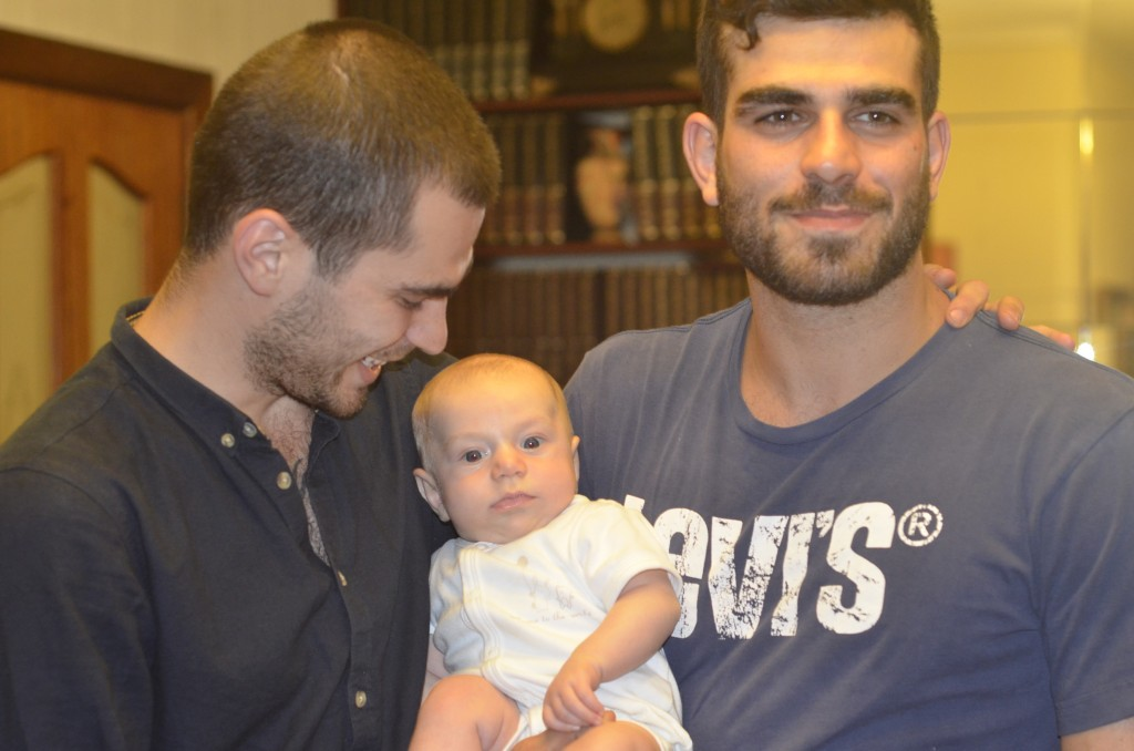 At three months with some of his cousins - Pete & Jeremy, Sydney