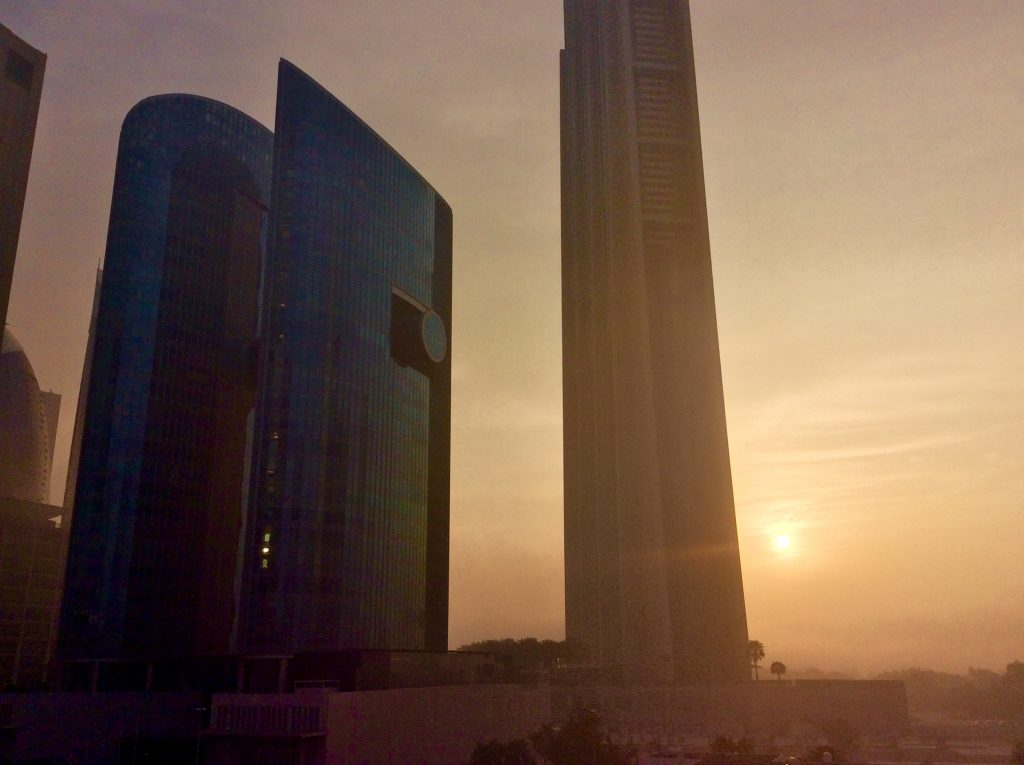 Sunrise between Financial Towers (left) & Index Tower (right)