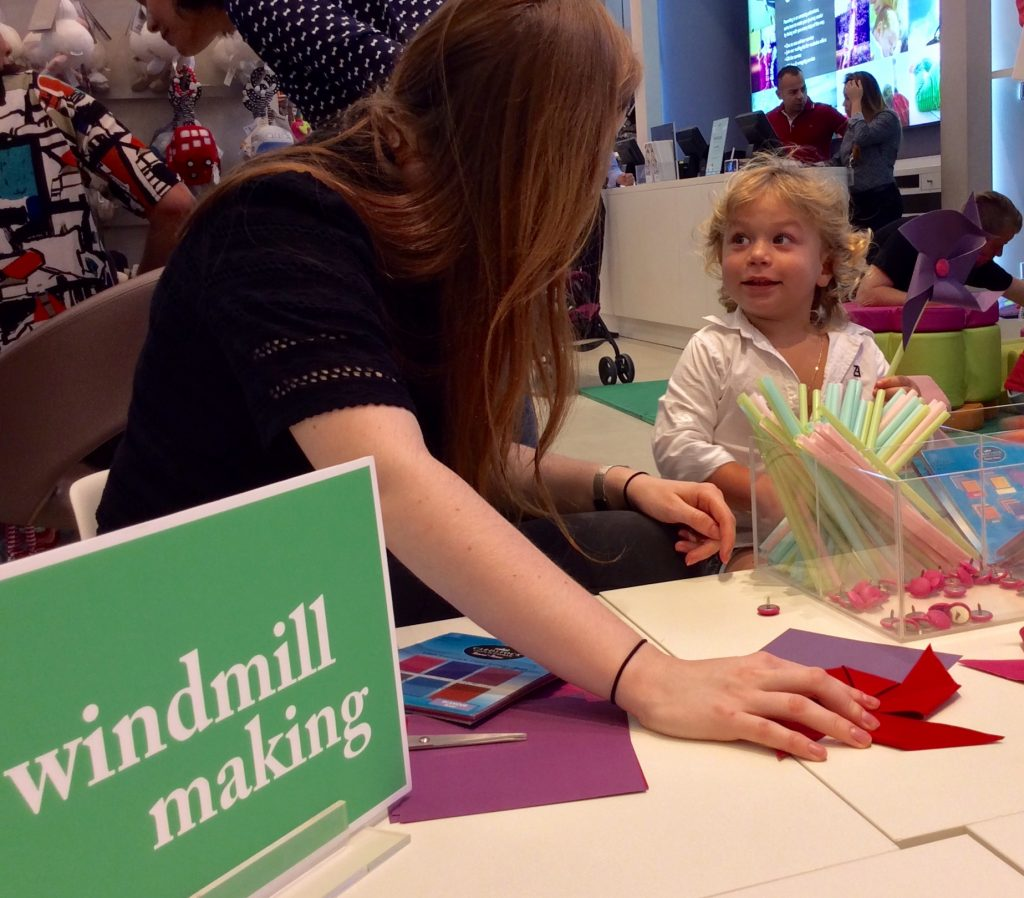 Making windmills at the craft table